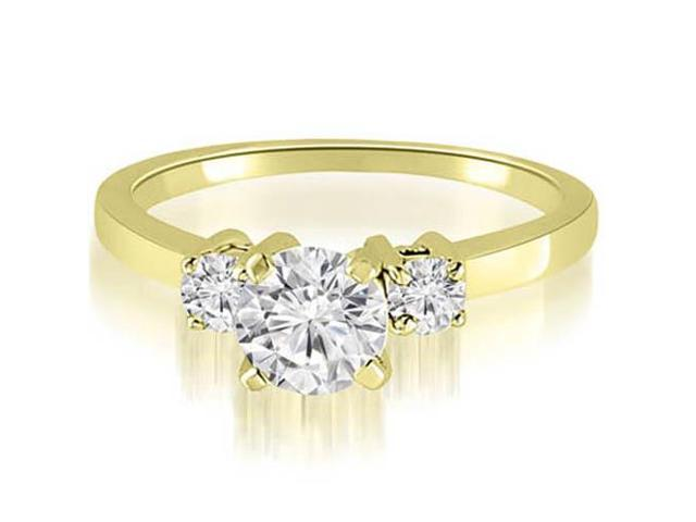 0.50 cttw. Three-Stone Round Cut Diamond Engagement Ring in 14K Yellow Gold