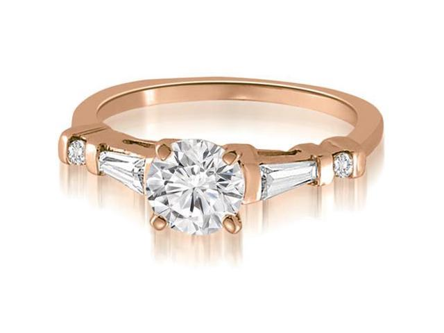 1.25 cttw. Round And Tapered Baguette Diamond Engagement Ring in 18K Rose Gold