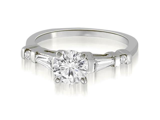 0.70 cttw. Round And Tapered Baguette Diamond Engagement Ring in 18K White Gold