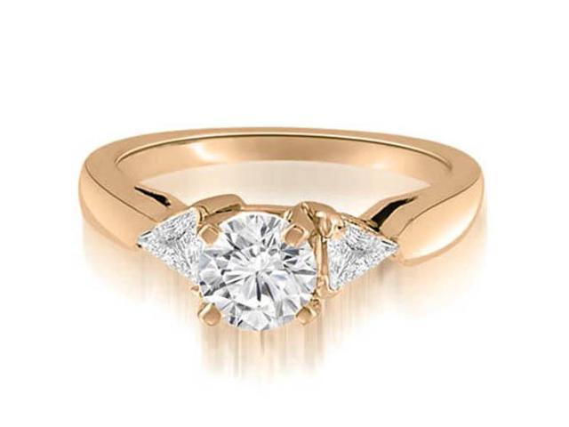 1.05 cttw. Round And Trillion Three-Stone Diamond Engagement Ring in 14K Rose Gold