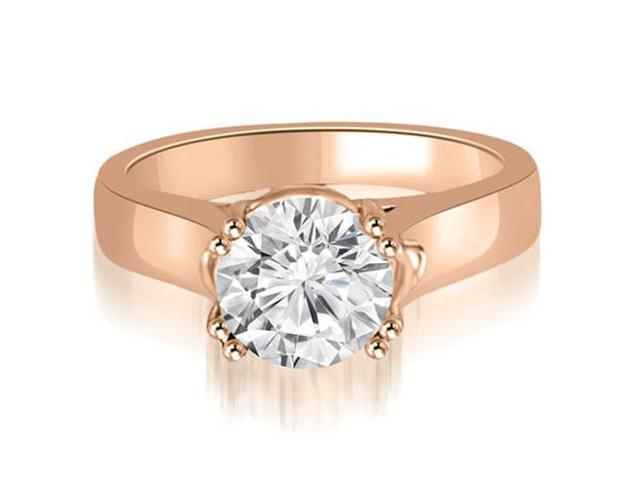 0.75 cttw. Trellis Solitaire Round Cut Diamond Engagement Ring in 18K Rose Gold (SI2, H-I)