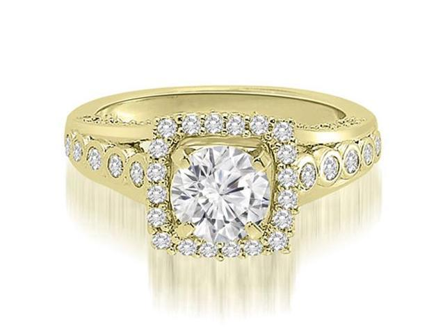 1.10 cttw. Halo Round Cut Diamond Engagement Ring in 14K Yellow Gold (VS2, G-H)