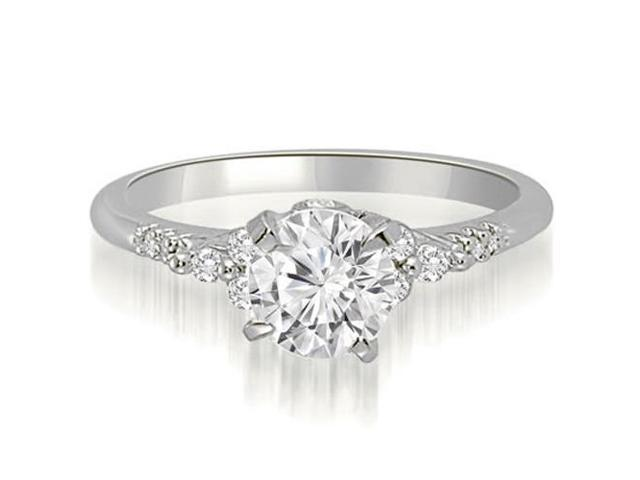 0.95 cttw. Round Cut Diamond Engagement Ring in 14K White Gold (VS2, G-H)