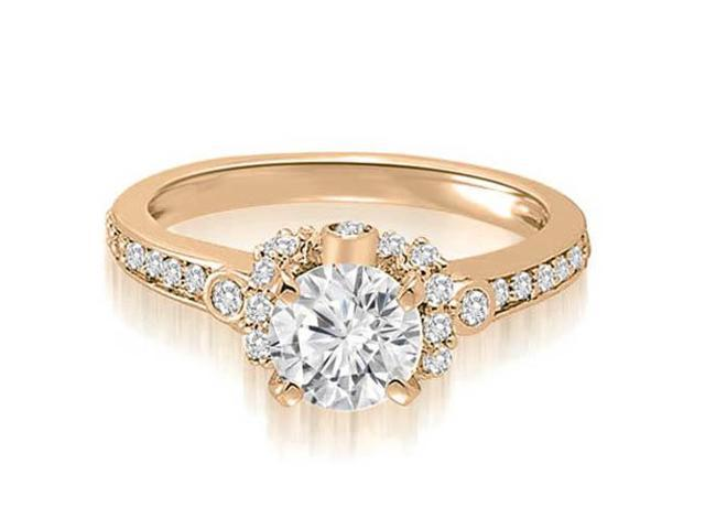 0.82 cttw. Round Cut Diamond Engagement Ring in 14K Rose Gold (SI2, H-I)