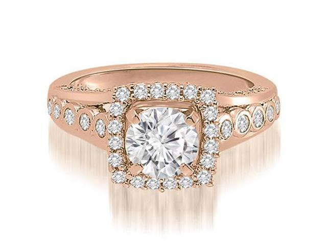1.65 cttw. Halo Round Cut Diamond Engagement Ring in 18K Rose Gold (SI2, H-I)