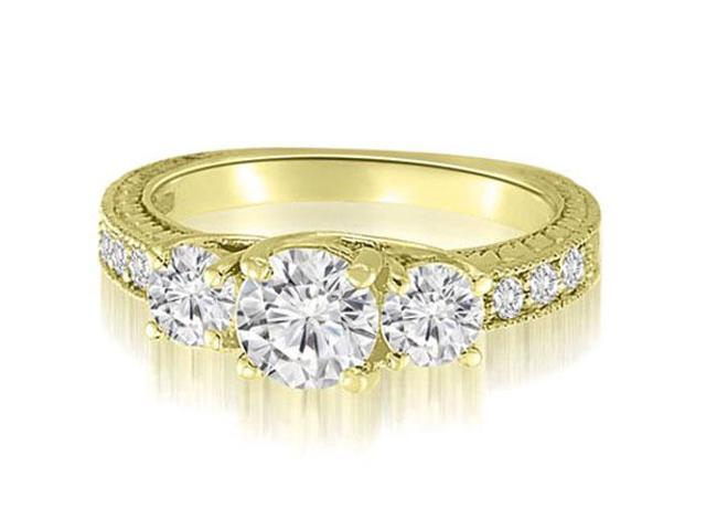 1.65 cttw. Three-Stone Trellis Round Cut Diamond Engagement Ring in 14K Yellow Gold (SI2, H-I)