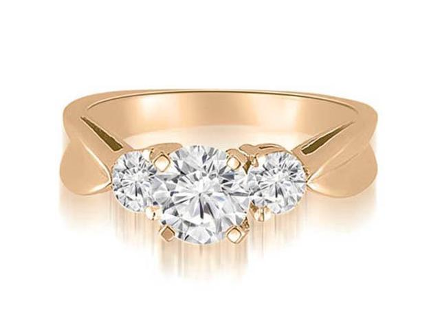 1.00 cttw. Round Cut Three-Stone Diamond Engagement Ring in 14K Rose Gold (VS2, G-H)
