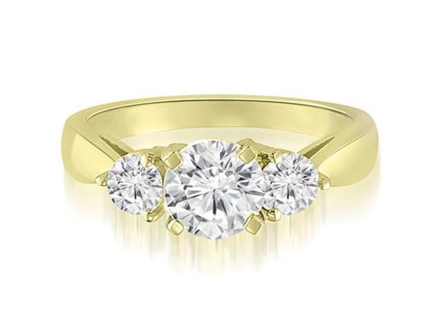 0.95 cttw. Classic Three-Stone Round Cut Diamond Engagement Ring in 18K Yellow Gold (SI2, H-I)