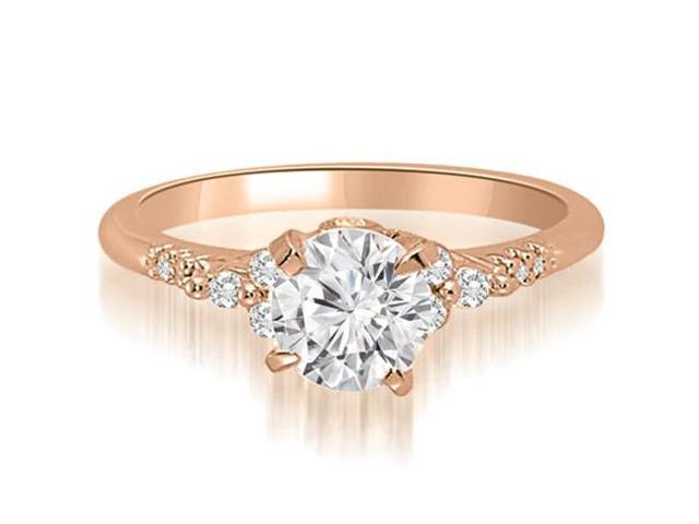 0.95 cttw. Round Cut Diamond Engagement Ring in 18K Rose Gold (SI2, H-I)