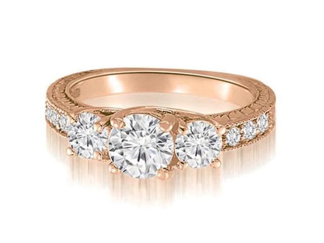 1.40 cttw. Three-Stone Trellis Round Cut Diamond Engagement Ring in 18K Rose Gold (VS2, G-H)