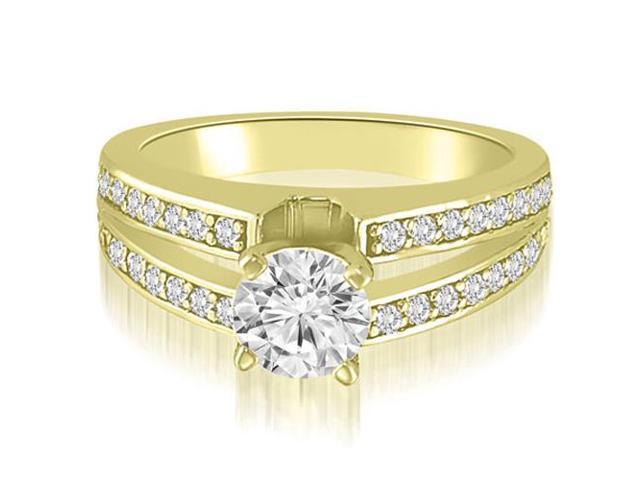 1.00 cttw. Split-Shank Round Cut Diamond Engagement Ring in 14K Yellow Gold (VS2, G-H)