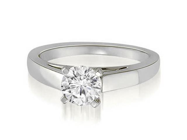 0.75 cttw. Cathedral Solitaire Round Cut Diamond Engagement Ring in 18K White Gold (SI2, H-I)