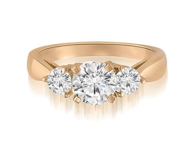 0.95 cttw. Classic Three-Stone Round Cut Diamond Engagement Ring in 14K Rose Gold (SI2, H-I)