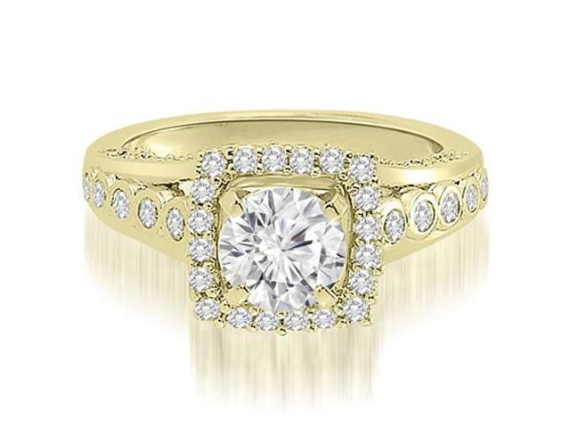 1.10 cttw. Halo Round Cut Diamond Engagement Ring in 18K Yellow Gold (SI2, H-I)