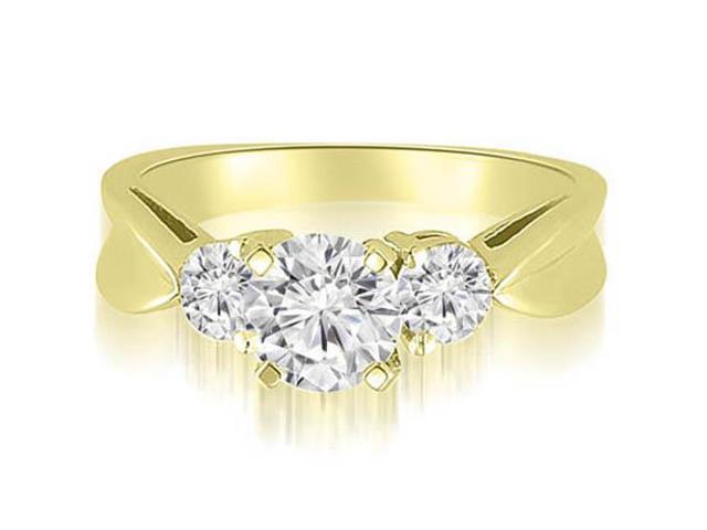 1.25 cttw. Round Cut Three-Stone Diamond Engagement Ring in 14K Yellow Gold (SI2, H-I)