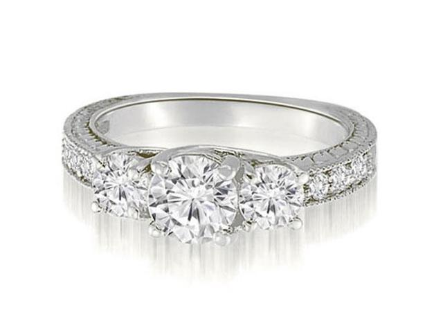 1.40 cttw. Three-Stone Trellis Round Cut Diamond Engagement Ring in 18K White Gold (VS2, G-H)