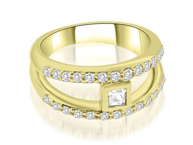 0.77 cttw. Split Shank Princess Cut Center Diamond Ring in 14K Yellow Gold (SI2, H-I)