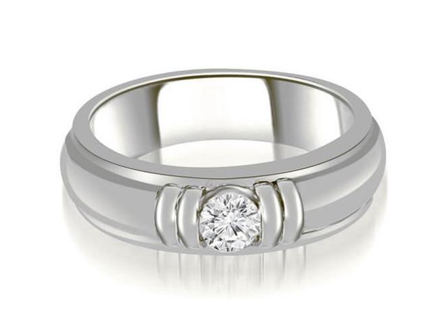 0.75 cttw. Round Diamond Men's Solitaire Ring in 14K White Gold