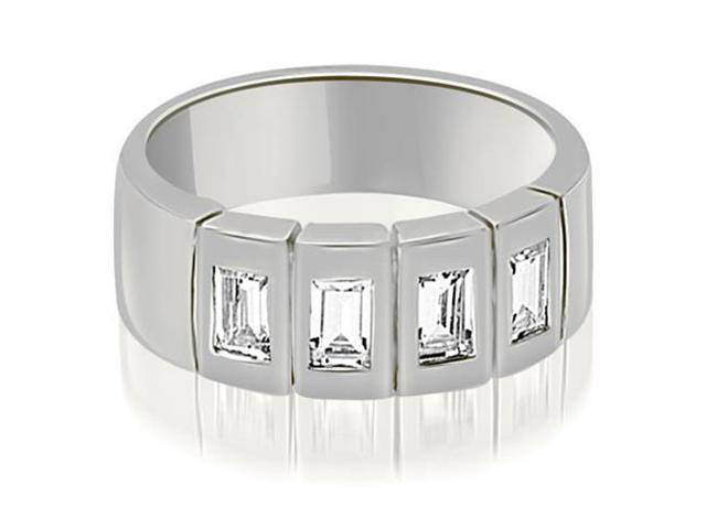1.00 cttw. Emerald Diamond Men's Wedding Band in 14K White Gold