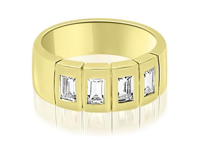 1.00 cttw. Emerald Diamond Men's Wedding Band in 14K Yellow Gold (VS2, G-H)