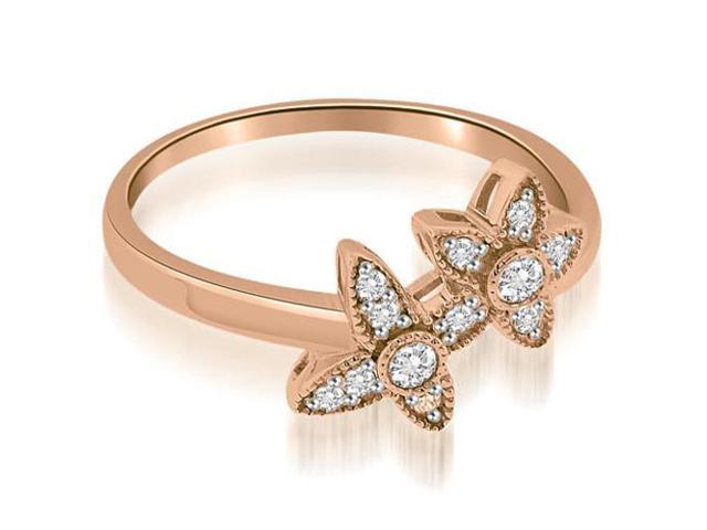 0.15 cttw. Two Flower Milgrain Fashion Round Cut Diamond Ring in 18K Rose Gold
