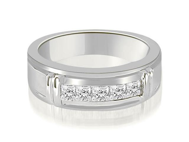 0.85 cttw. Princess Diamond Men's Wedding Ring in 18K White Gold