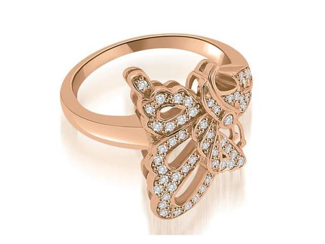0.45 cttw. Bow Tie Fashion Diamond Ring in 18K Rose Gold