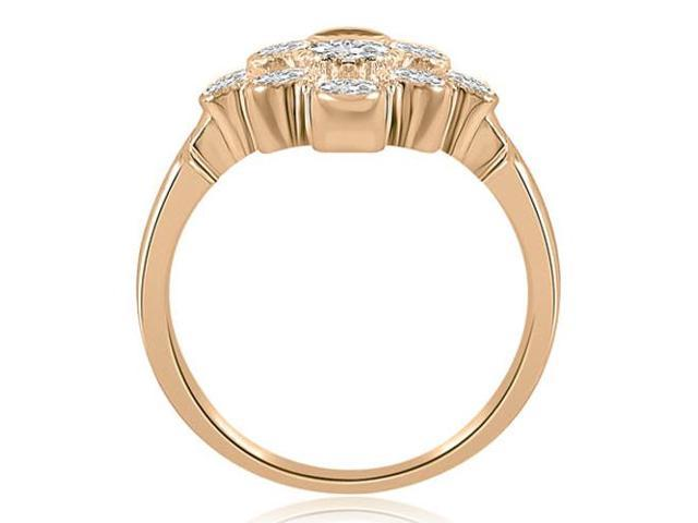 0.80 cttw. Pattern Round Cut Fashion Diamond Ring in 14K Rose Gold (VS2, G-H)