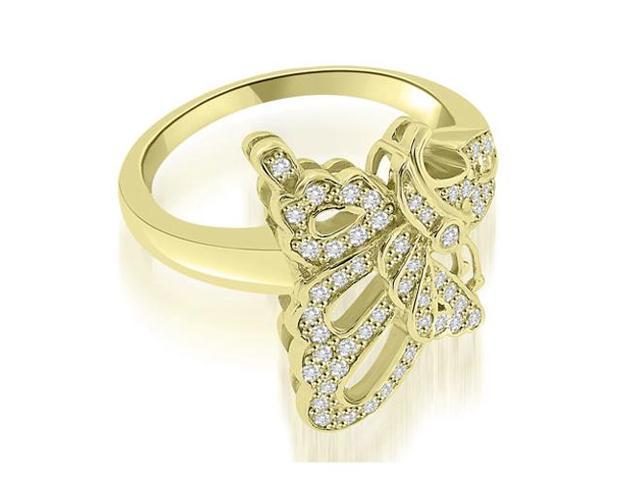 0.45 cttw. Bow Tie Fashion Diamond Ring in 18K Yellow Gold