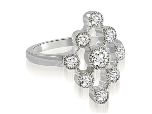 0.80 cttw. Pattern Round Cut Fashion Diamond Ring in 14K White Gold