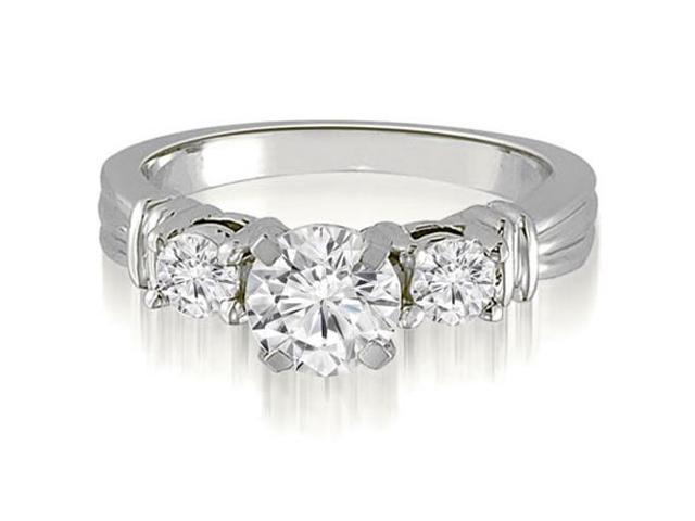 1.00 cttw. Vintage Three-Stone Round Cut Diamond Engagement Ring in 14K White Gold (SI2, H-I)