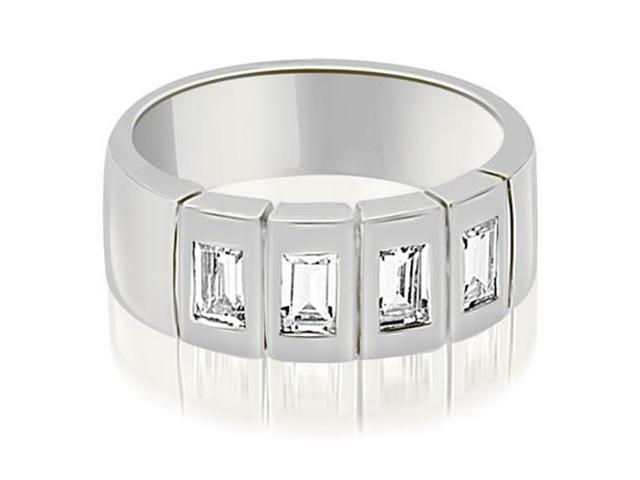 1.00 cttw. Emerald Diamond Men's Wedding Band in 18K White Gold