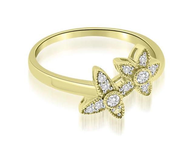 0.15 cttw. Two Flower Milgrain Fashion Round Cut Diamond Ring in 18K Yellow Gold