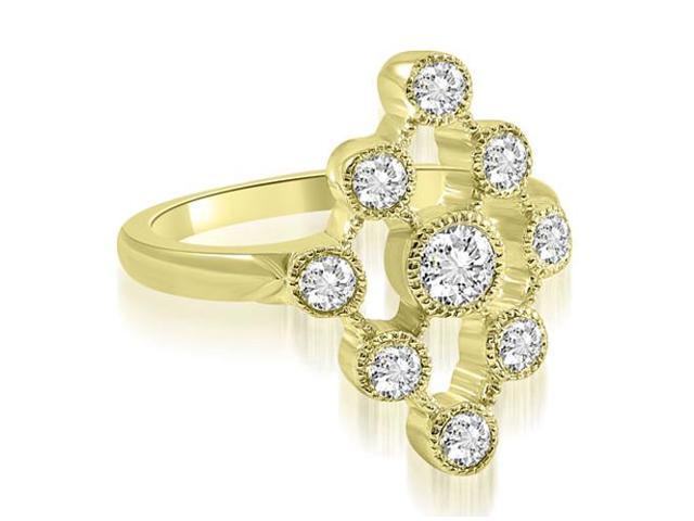 0.80 cttw. Pattern Round Cut Fashion Diamond Ring in 14K Yellow Gold (VS2, G-H)