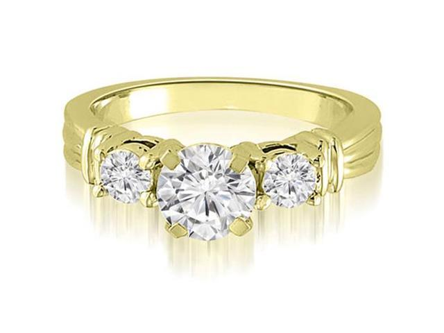 1.00 cttw. Vintage Three-Stone Round Cut Diamond Engagement Ring in 14K Yellow Gold (VS2, G-H)
