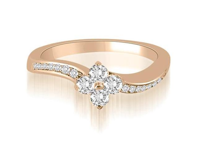 0.90 cttw. Curved Round Cut Diamond Cluster Fashion Ring in 14K Rose Gold