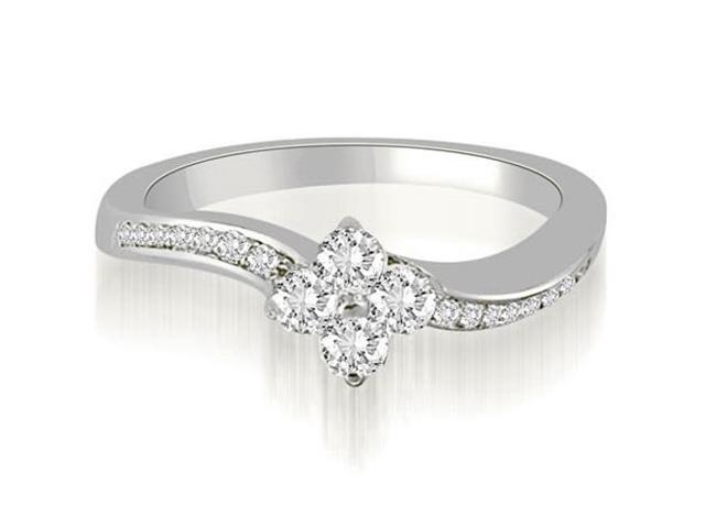 0.90 cttw. Curved Round Cut Diamond Cluster Fashion Ring in 14K White Gold (VS2, G-H)