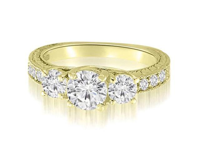 1.15 cttw. Three-Stone Trellis Round Cut Diamond Engagement Ring in 18K Yellow Gold (SI2, H-I)