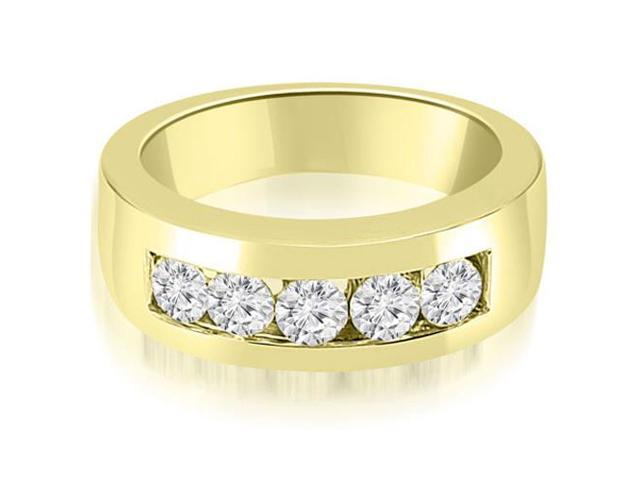 1.25 cttw. Round Diamond Channel Men's Wedding Band in 18K Yellow Gold