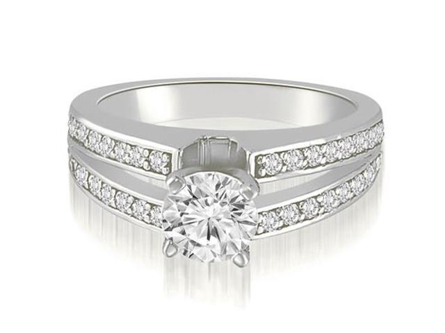1.50 cttw. Split-Shank Round Cut Diamond Engagement Ring in 18K White Gold (SI2, H-I)