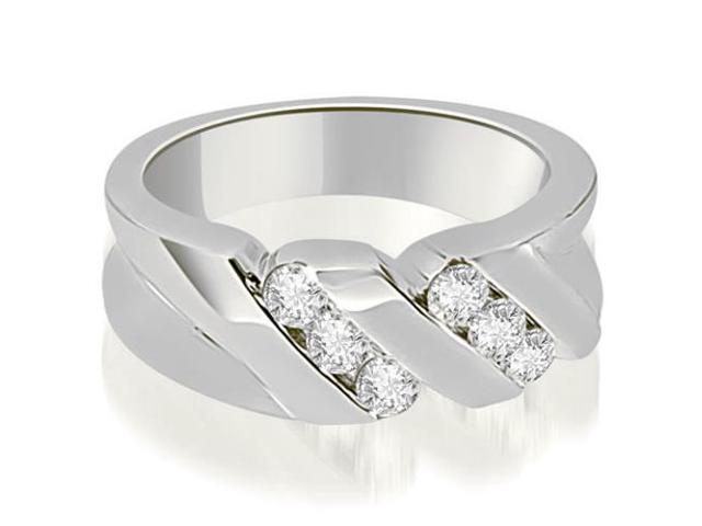 0.60 cttw. Round Diamond Men's Wedding Ring in 18K White Gold (VS2, G-H)