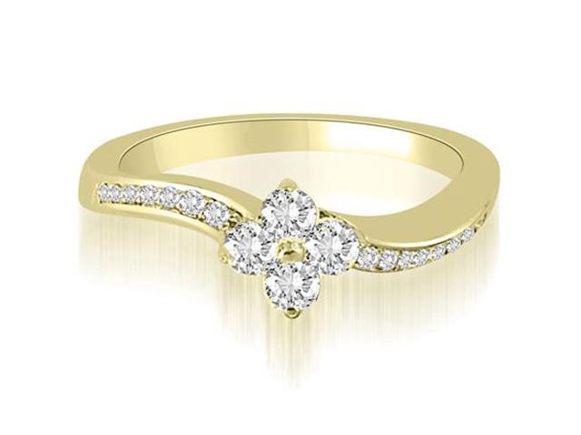 0.90 cttw. Curved Round Cut Diamond Cluster Fashion Ring in 14K Yellow Gold (VS2, G-H)