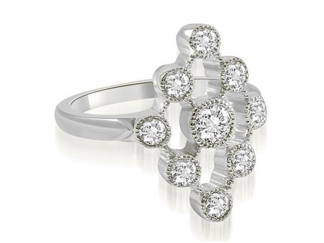 0.80 cttw. Pattern Round Cut Fashion Diamond Ring in 18K White Gold