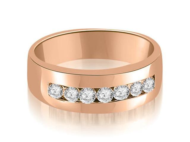 0.70 cttw. Round Diamond Men's Wedding Ring in 18K Rose Gold (VS2, G-H)