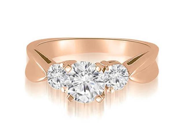 1.00 cttw. Round Cut Three-Stone Diamond Engagement Ring in 18K Rose Gold (VS2, G-H)