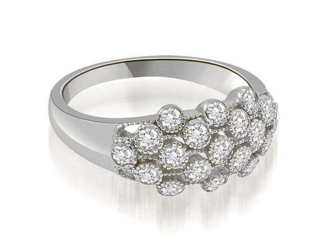 0.50 cttw. Milgrain Round Cut Cluster Diamond Fashion Ring in 14K White Gold