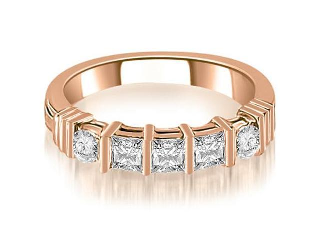 0.70 cttw. Princess And Round Cut Diamond Wedding Band in 18K Rose Gold (SI2, H-I)