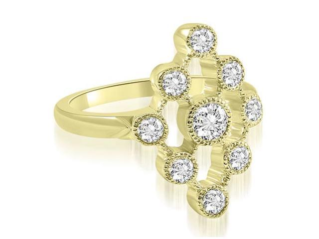 0.80 cttw. Pattern Round Cut Fashion Diamond Ring in 18K Yellow Gold (VS2, G-H)