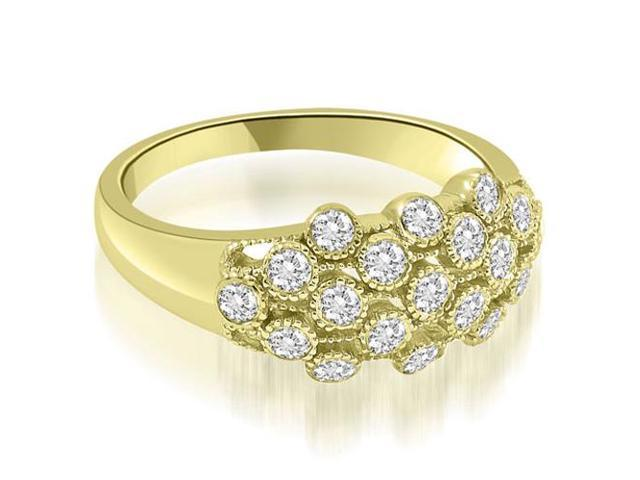 0.50 cttw. Milgrain Round Cut Cluster Diamond Fashion Ring in 14K Yellow Gold