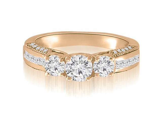 1.55 cttw. Antique 3-Stone Trellis Round Diamond Engagement Ring in 14K Rose Gold (SI2, H-I)